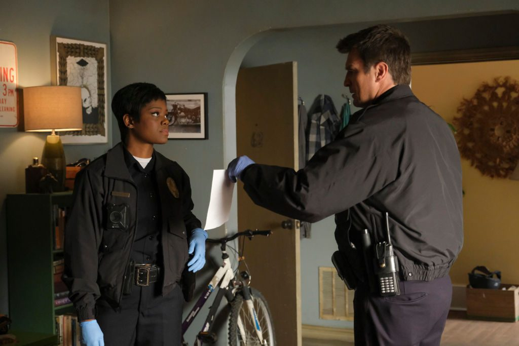Afton Williamson and Nathan Fillion on 'The Rookie'