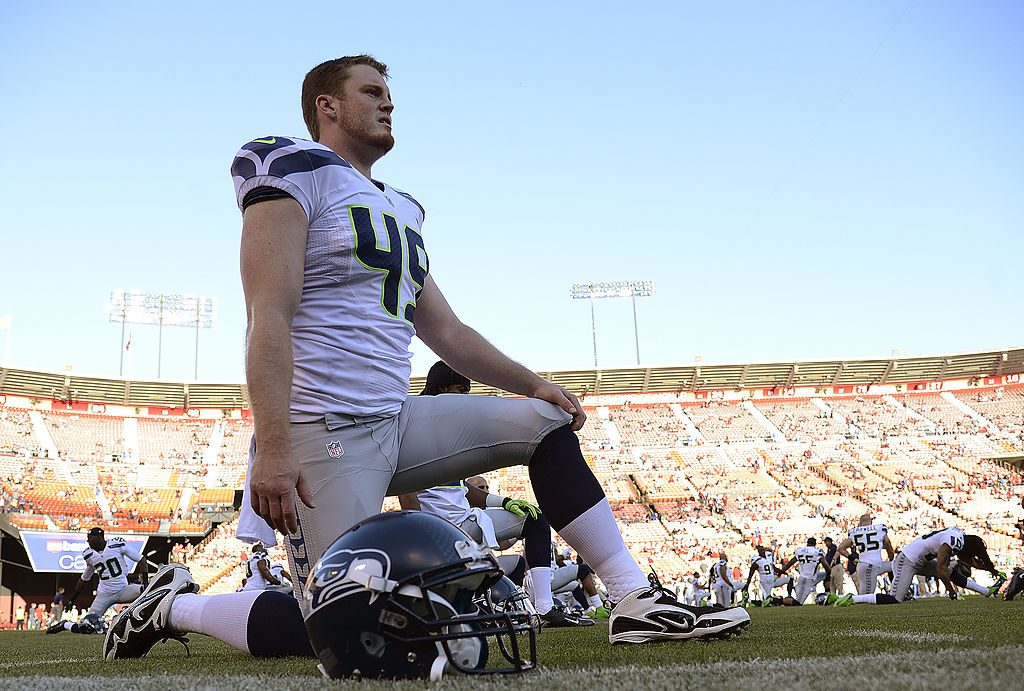 Seattle Seahawks Clint Gresham stretching before a game against the San Francisco 49ers at Candlestick Park in 2012 | Thearon W. Henderson/Getty Images