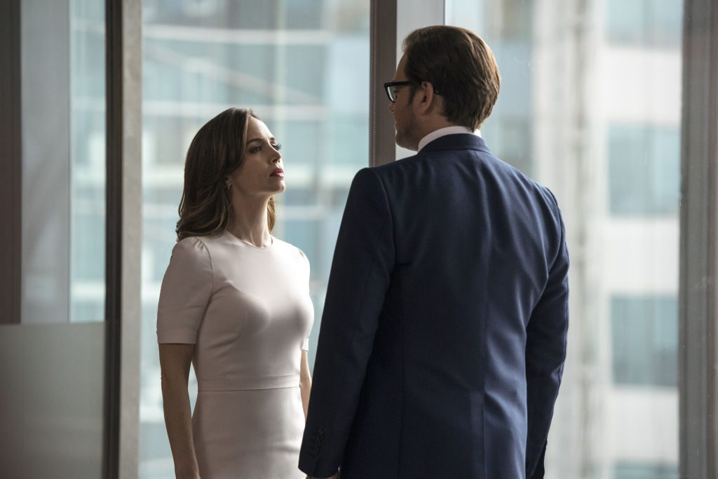 L-R: Eliza Dushku as J.P. Nunnelly and Michael Weatherly as Dr. Jason Bull |David Giesbrecht/CBS via Getty Images