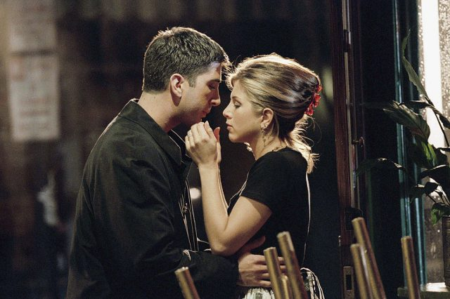 Friends' stars David Schwimmer (Ross) and Jennifer Aniston (Rachel)