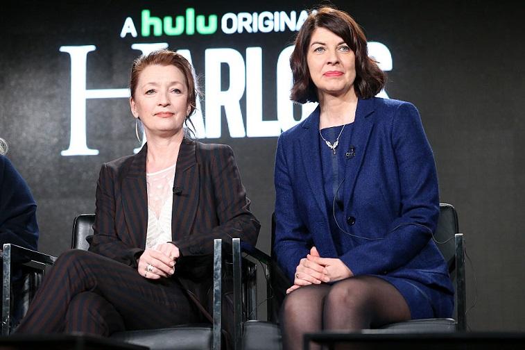 Lesley Manville and executive producer Moira Buffini of Hulu's 'Harlots'