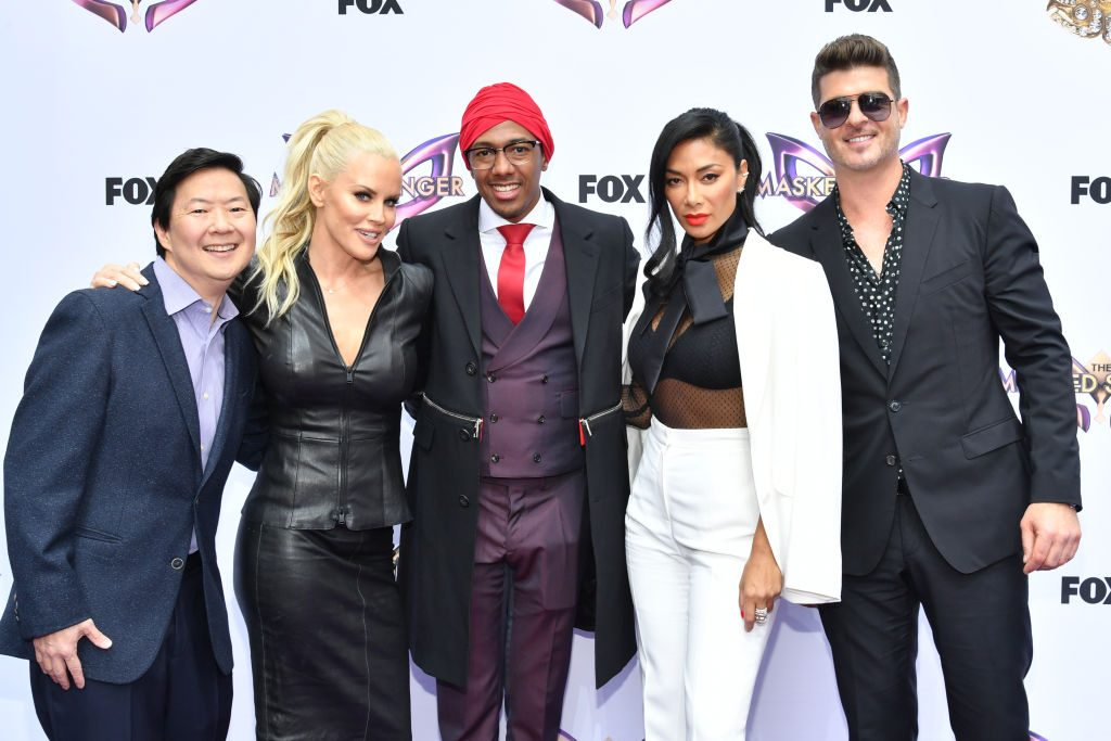 Ken Jeong, Jenny McCarthy, Nick Cannon, Nicole Scherzinger and Robin Thicke of 'The Masked Singer'