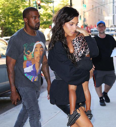 Kim Kardashian with North West and Kanye West