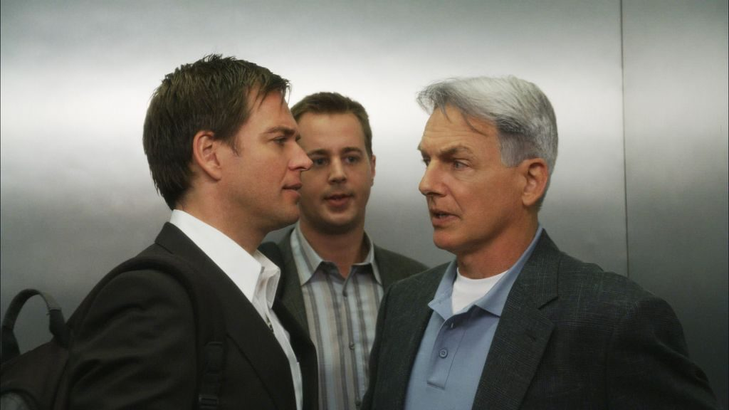 Mark Harmon and Michael Weatherly with Sean Murray | Screen Grab by CBS via Getty Images