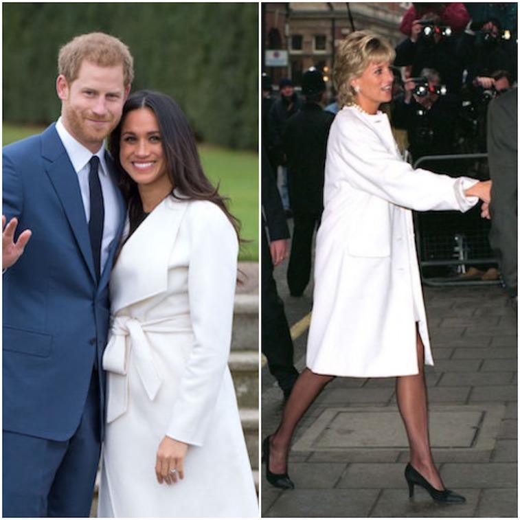 Princess Diana and Meghan Markle wearing white jackets