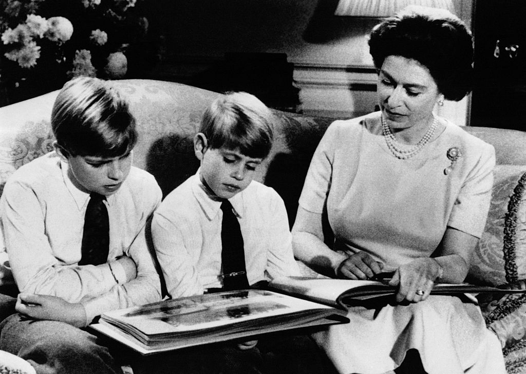 Queen Elizabeth with Prince Andrew and Prince Edward