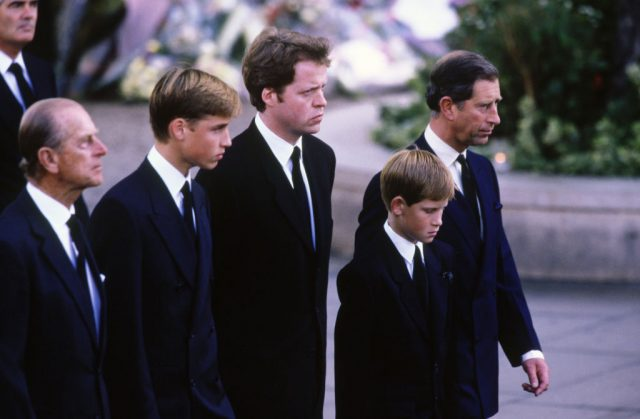 Prince Philip, Duke of Edinburgh, Prince William, the 9th Earl Charles Spencer, Prince Harry, and Prince Charles.