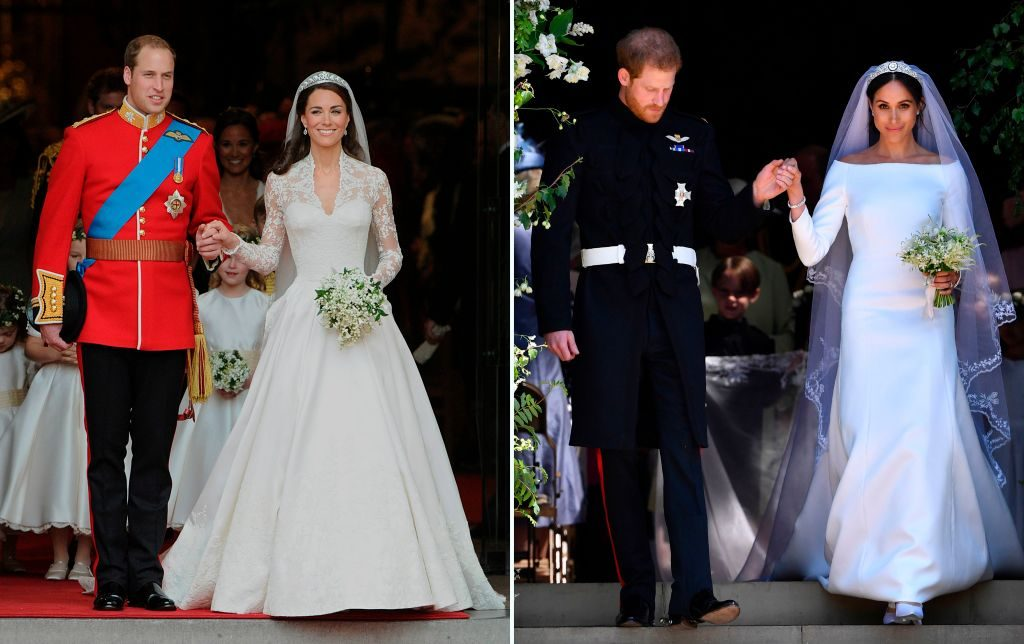 (L): Prince William and Kate Middleton's wedding, (R): Prince Harry and Meghan Markle's wedding