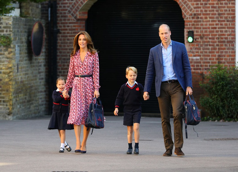 Princess Charlotte, Prince William, Catherine, Duchess of Cambridge, and Prince George
