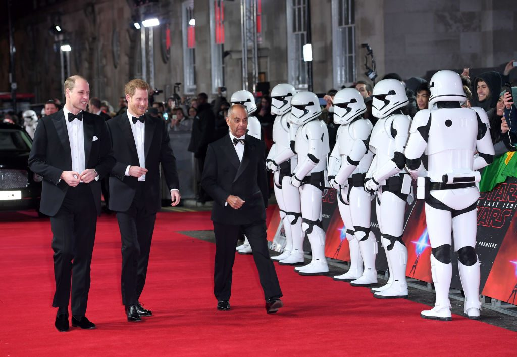 Prince William and Prince Harry at the European Premiere of Star Wars The Last Jedi