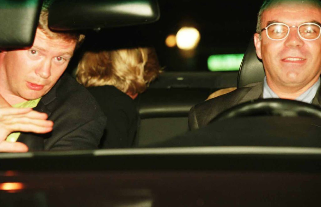 Princess Diana in vehicle with Trevor Rees-Jones, Henri Paul, and Dodi Fayed