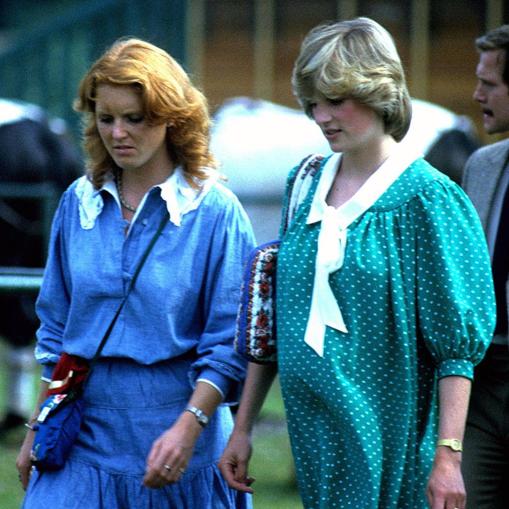 Sarah Ferguson and Princess Diana talking at royal event