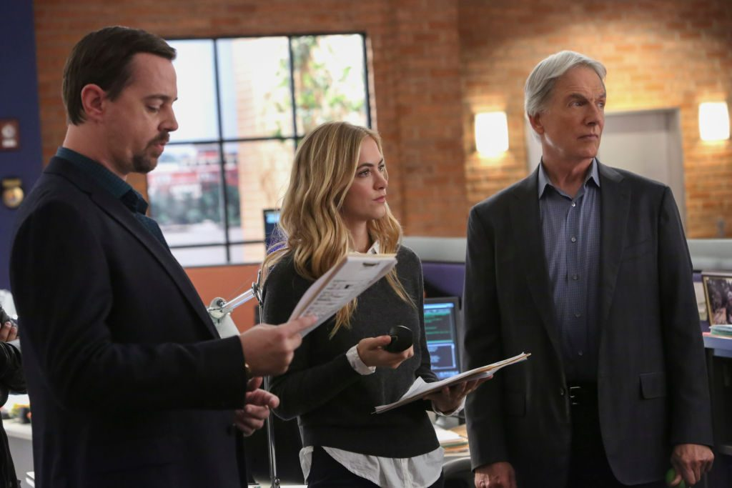 Sean Murray, Emily Wickersham, and Mark Harmon | Patrick McElhenney/CBS via Getty Images