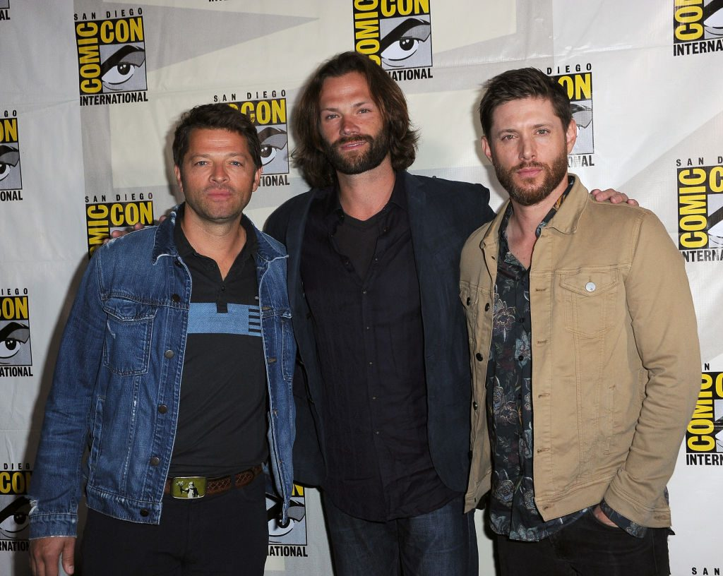 (L-R) Misha Collins, Jensen Ackles, and Jared Padalecki who are cast members of the show 'Supernatural'
