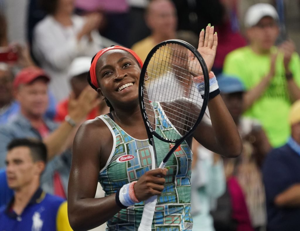Tennis player Coco Gauff celebrates her win during her first round match of the U.S. Open
