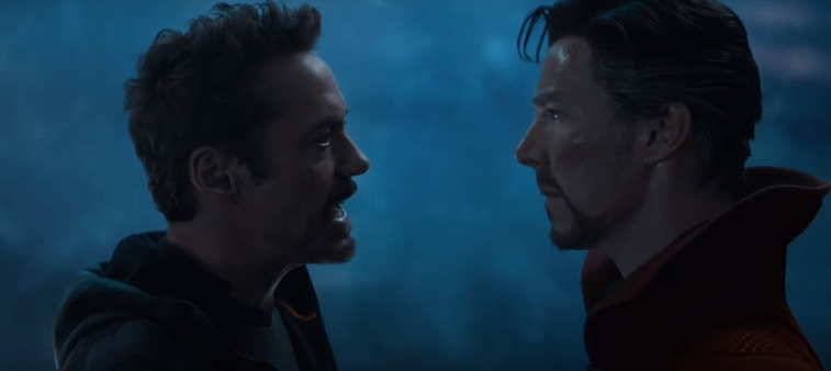 Robert Downey Jr. as Tony Stark and Benedict Cumberbatch as Doctor Stephen Strange