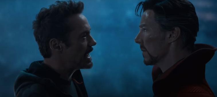 Robert Downey Jr. as Tony Stark and Benedict Cumberbatch as Doctor Stephen Strange