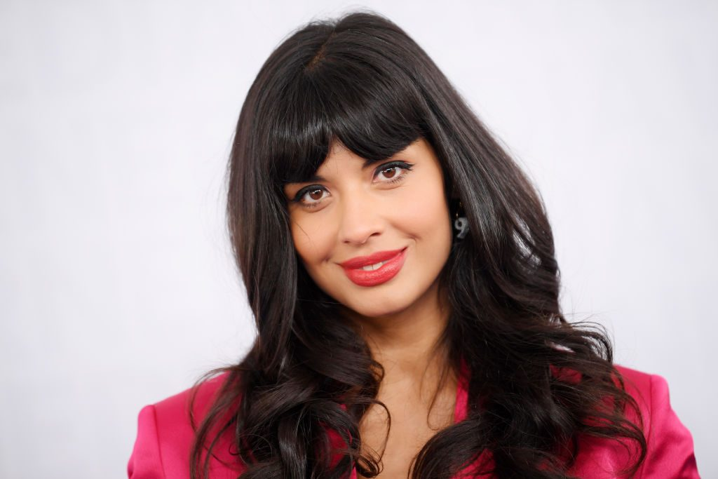 Jameela Jamil attends the WarnerMedia Upfront 2019 arrivals on the red carpet on May 15, 2019, in New York City.