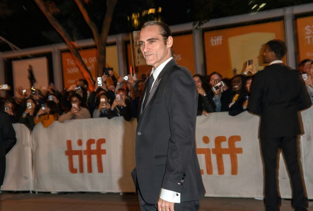 Actor Joaquin Phoenix appears extremely thin and gaunt after a 52-pound weight loss for his role as the Joker