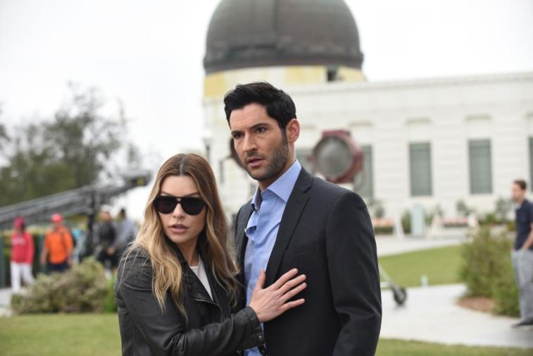 Lauren German and Tom Ellis in Lucifer.
