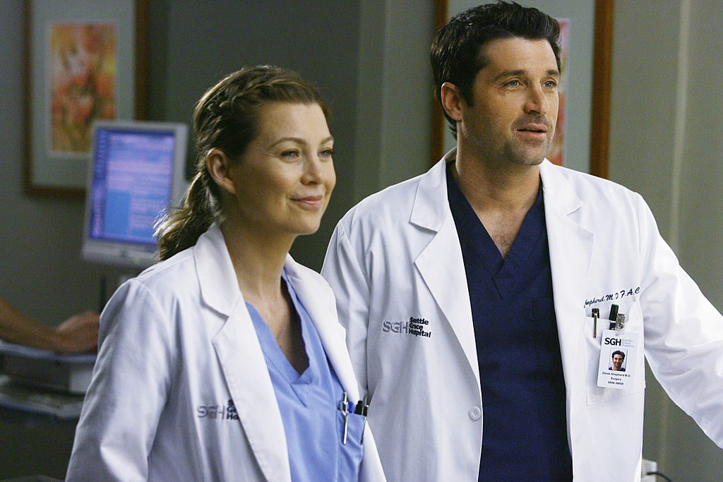 Ellen Pompeo and Patrick Dempsey on set of Grey's Anatomy