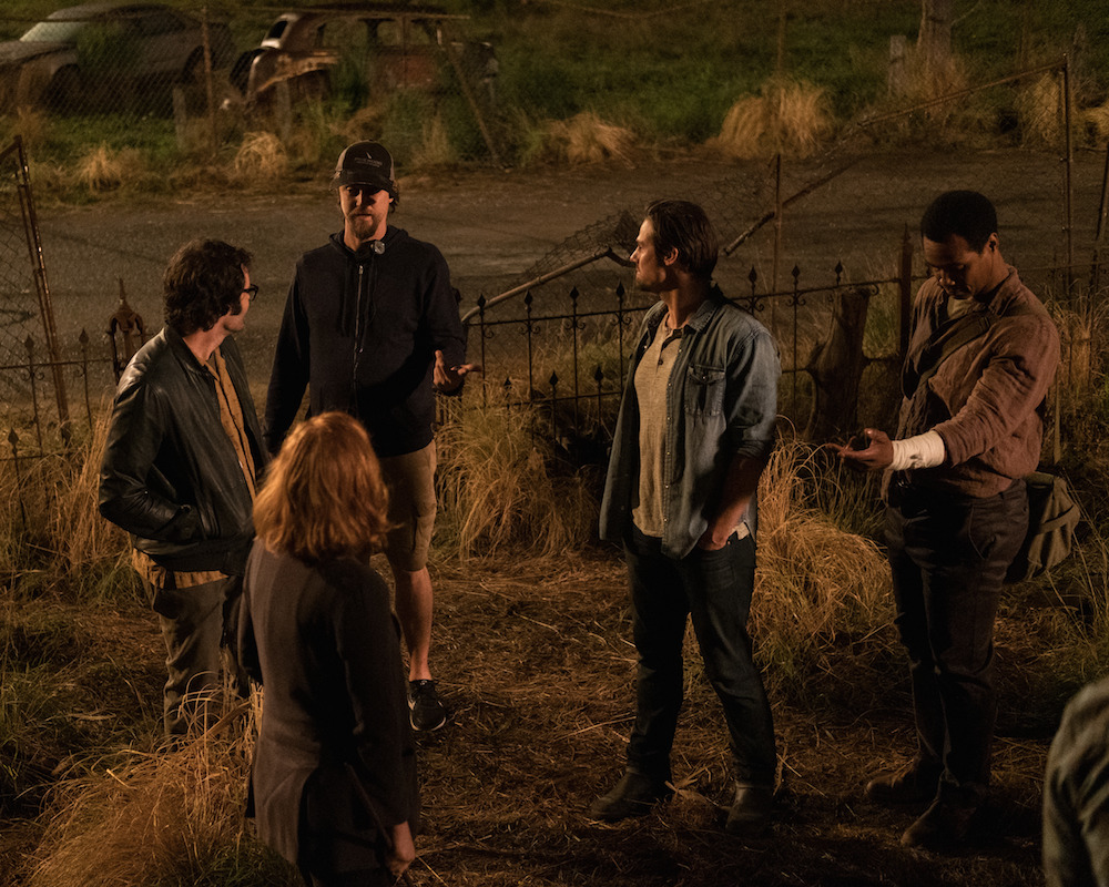 "LR: BILL HADER, JESSICA CHASTAIN, Director ANDY MUSCHIETTI, JAY RYAN and ISAIAH MUSTAFA on the set of New Line Cinema horror thriller ""IT CHAPTER TWO"" 