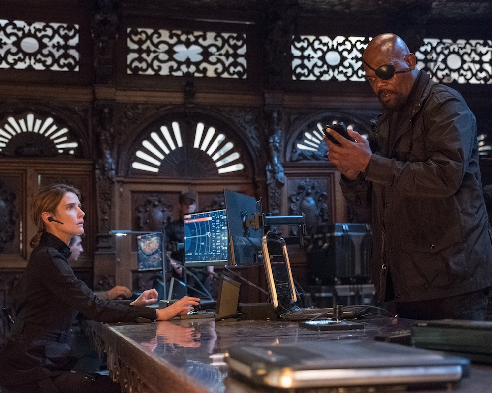 Cobie Smulders and Samuel L. Jackson in Spider-Man: Far From Home