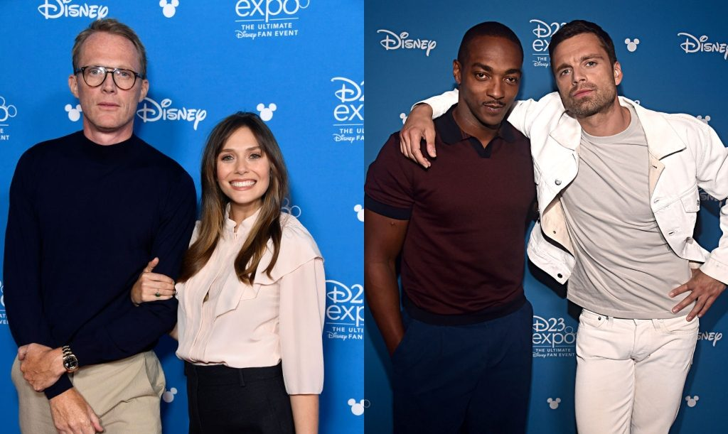 L: Paul Bettany and Elizabeth Olsen, R: Anthony Mackie and Sebastian Stan