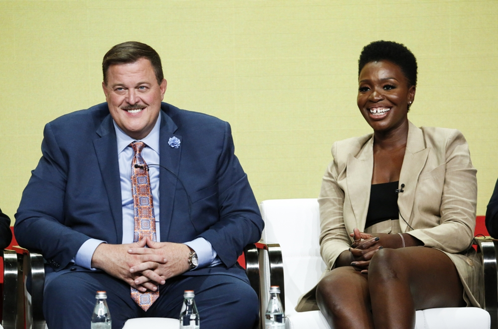 Folake Olowofoyuke and Billy Gardell