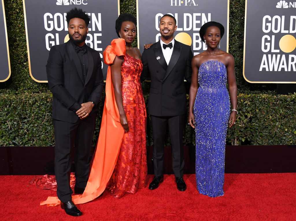 Director Ryan Coogler and some of the Black Panther cast (Danai Gurira, Michael B. Jordan, and Lupita Nyong'o) at the Golden Globe awards