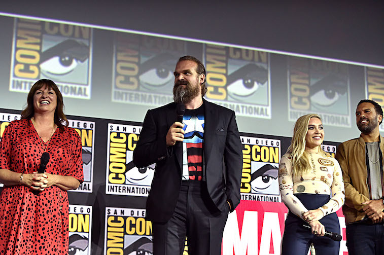 ate Shortland, David Harbour, Florence Pugh and O-T Fagbenle onstage at San Diego Comic-Con