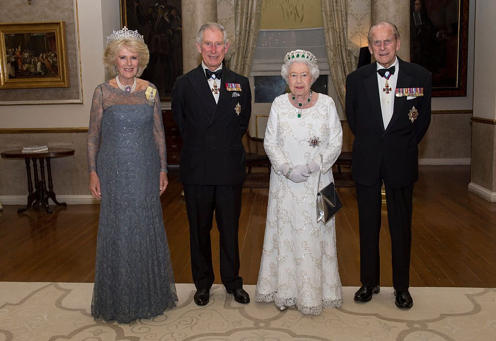 Camilla Parker Bowles, Prince Charles, Queen Elizabeth II, and Prince Philip