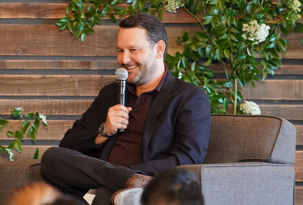 Dan Fogelman speaks on a panel for 'This Is Us'
