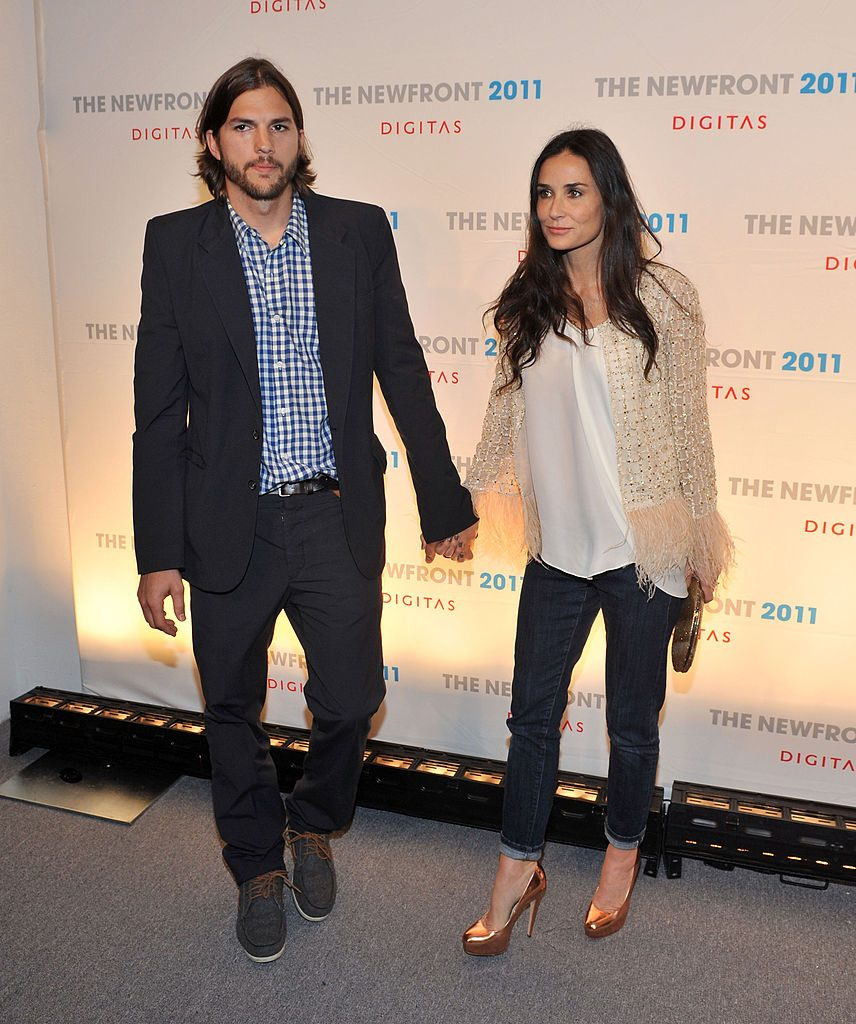 Ashton Kutcher and Demi Moore attend the NewFront conference