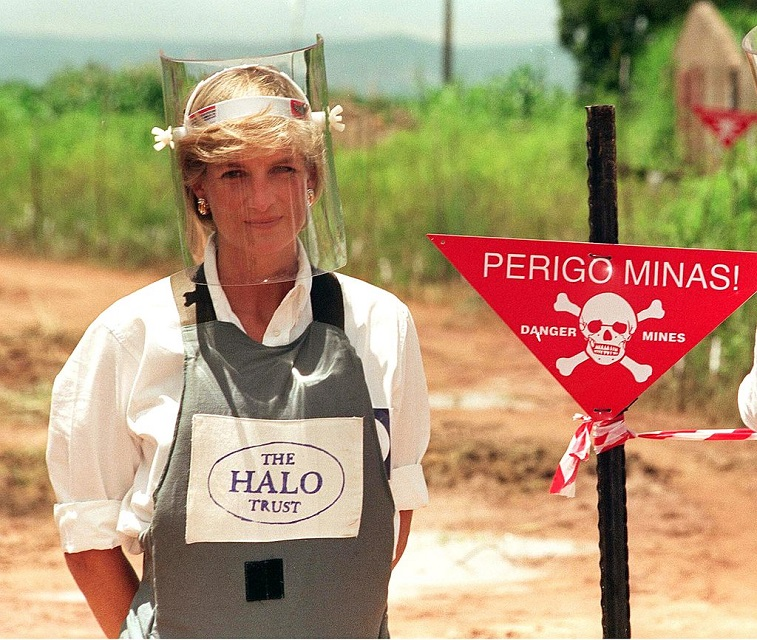 Diana, Princess of Wales, wears body armor during a visit to a landmine