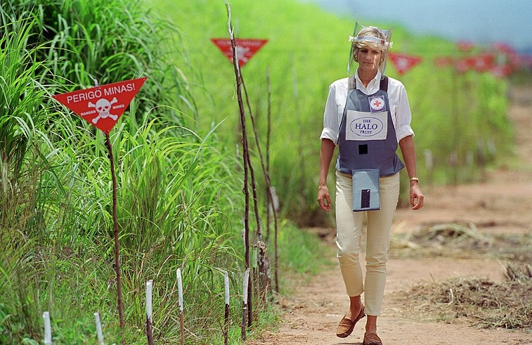Diana, Princess of Wales visits a landmine minefield being cleared
