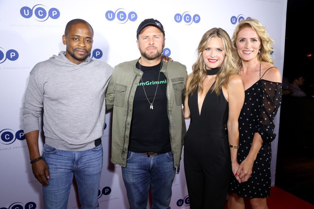 Psych cast (Dule Hill, James Roday, Maggie Lawson, and Kirsten Nelson) at Comic Con celebration