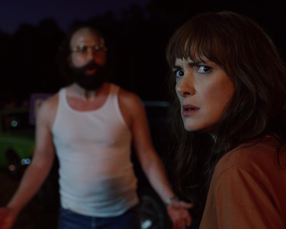 Brett Gelman and Winona Ryder in Stranger Things