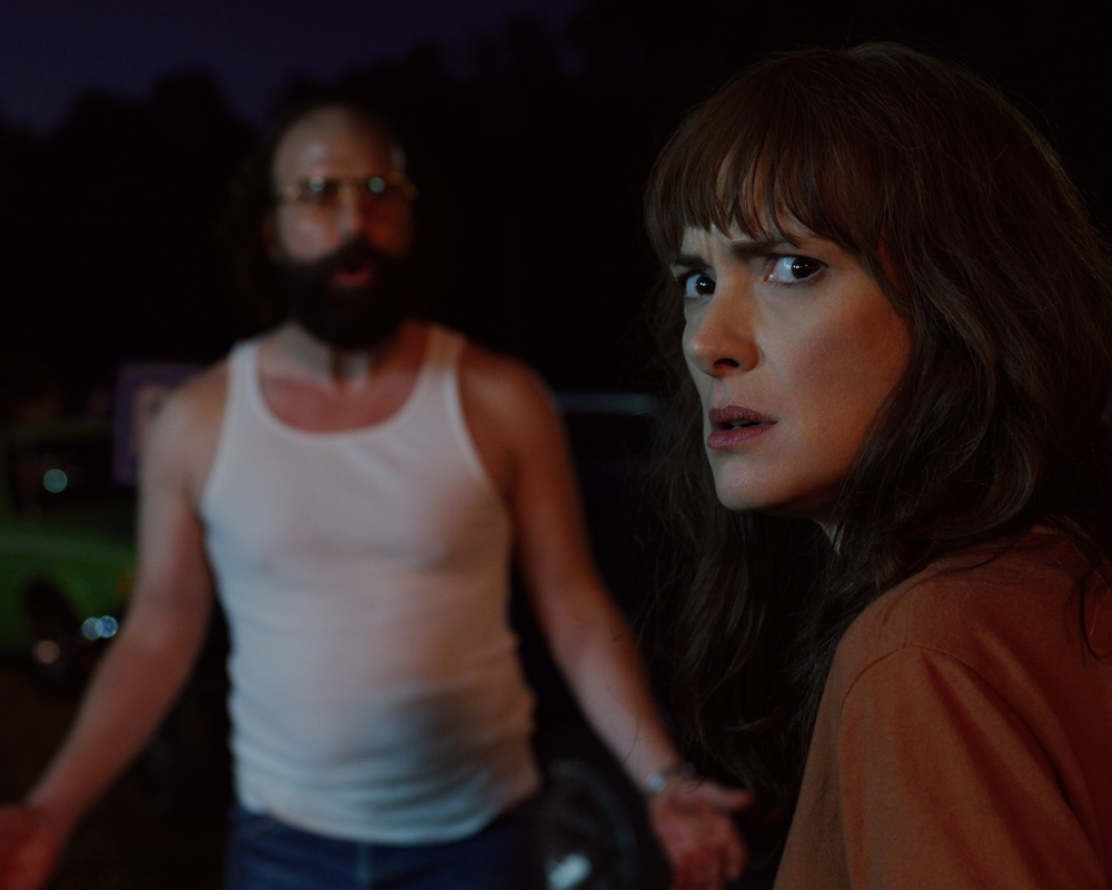 Brett Gelman and Winona Ryder in Stranger Things