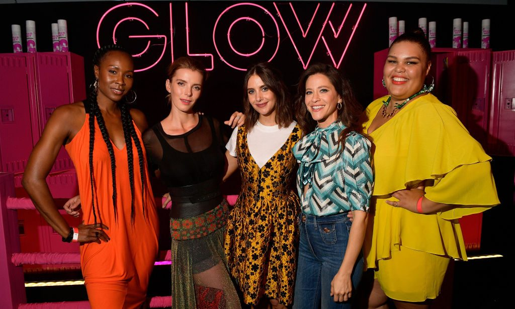 "Sydelle Noel, Betty Gilpin, Alison Brie, Jackie Tohn, and Britney Young attend Netflix's ""Glow"" celebrates its 10 Emmy Nominations"
