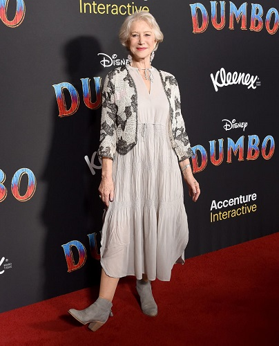 Dame Helen Mirren attends the premiere of Disney's 'Dumbo'