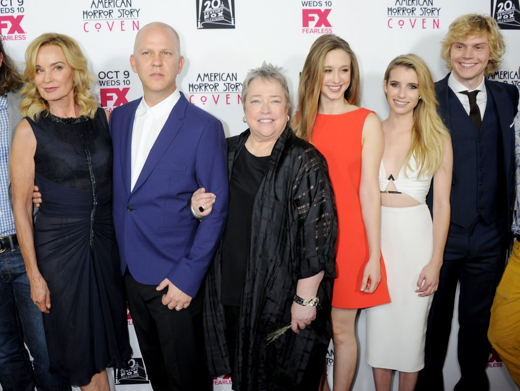 Jessica Lange, Ryan Murphy, Kathy Bates, Taissa Farmiga, Emma Roberts and Evan Peters