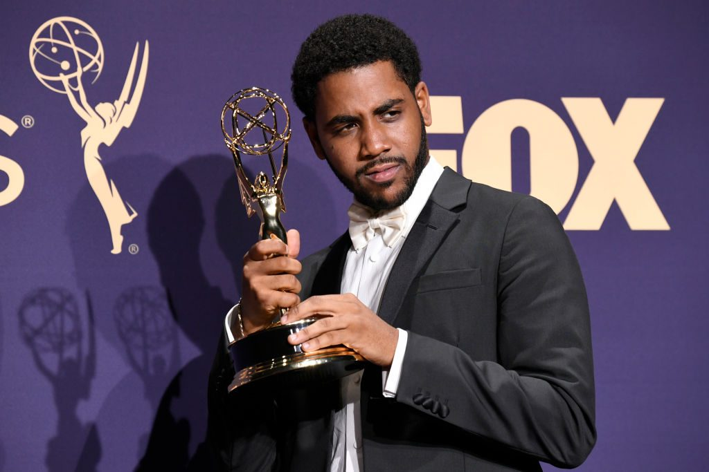 Jharrel Jerome poses with award for Outstanding Lead Actor in a Limited Series or Movie in the press room during the 71st Emmy Awards