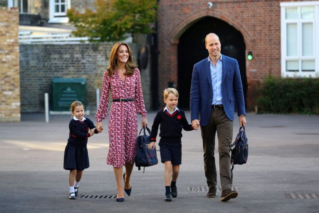 Kate Middleton and Prince William take George and Charlotte to school