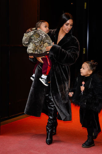 Kim Kardashian with North and Saint
