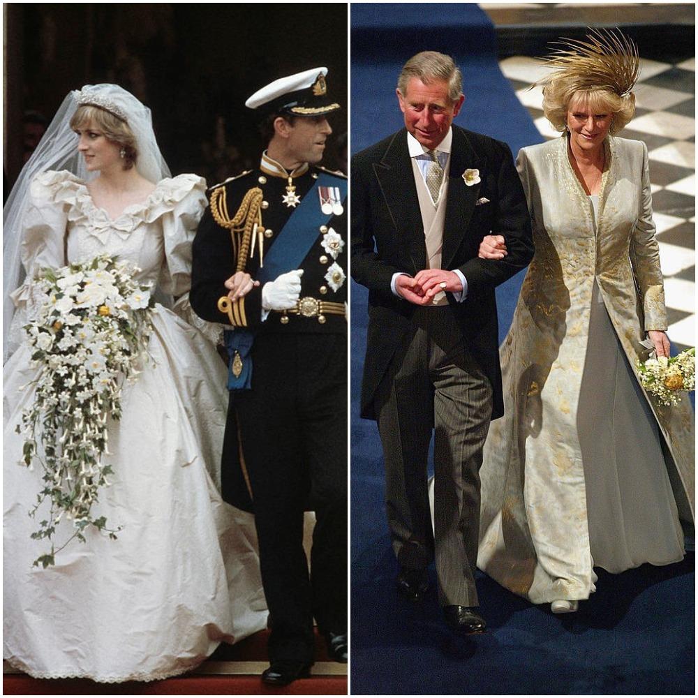 (L) Princess Diana and Prince Charles' wedding, (R) Camilla Parker Bowles and Prince Charles' wedding