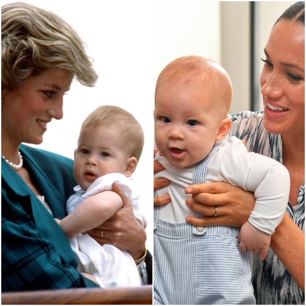 (L) Princess Diana holding Prince Harry, (R) Meghan Markle holding baby Archie