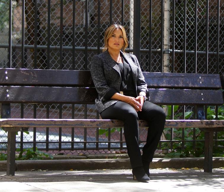 Mariska Hargitay on the set of 'Law and Order: SVU'