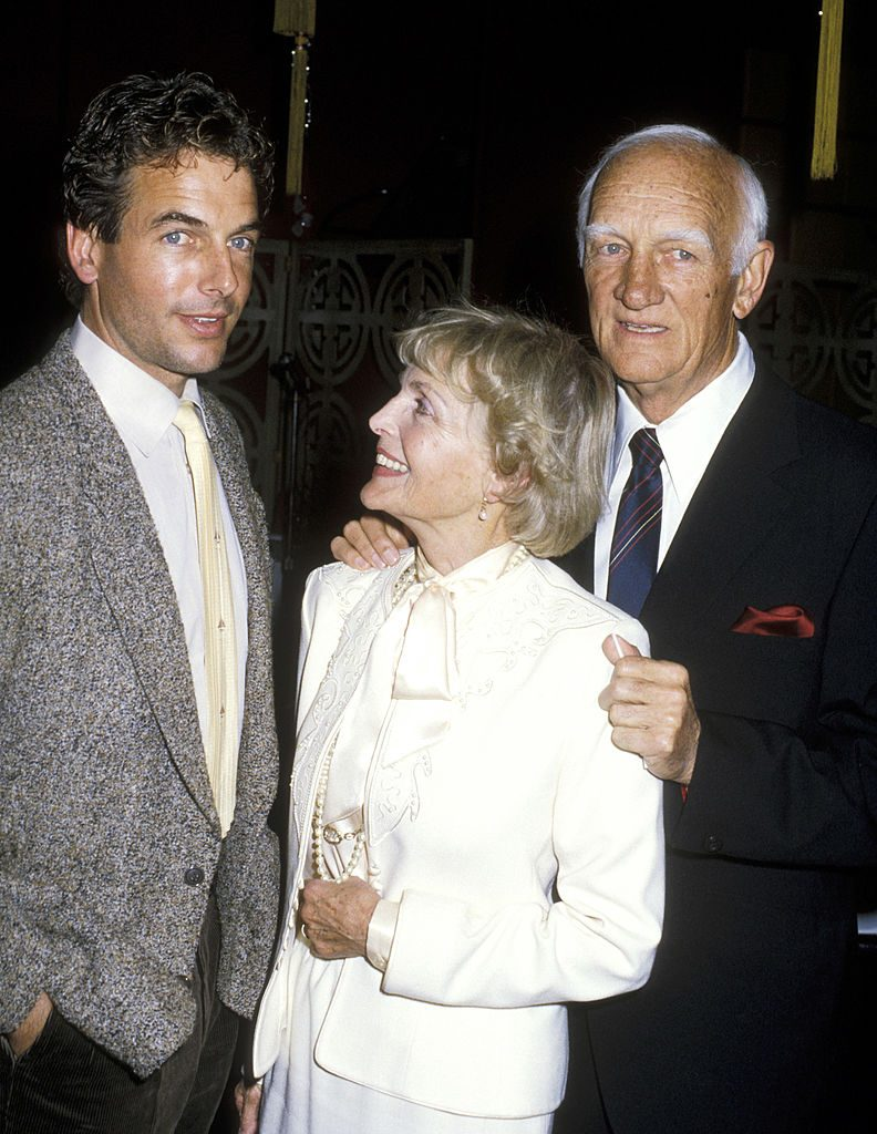 Mark Harmon, Elyse Knox and Thomas Harmon in 1986   Ron Galella/Ron Galella Collection via Getty Images