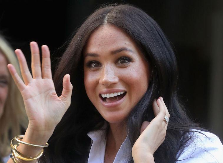 Meghan Markle waving to the camera